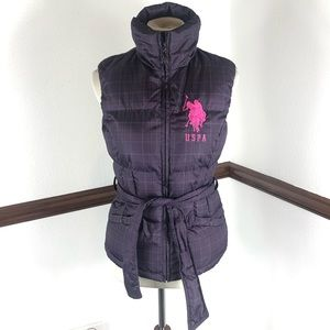 US Polo Assn belted Puffer Vest Size S